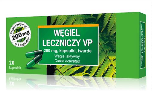 WĘGIEL LECZNICZY VP 200 mg, 20 kapsułek