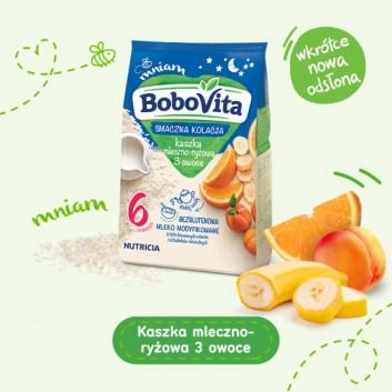 BoboVita Smaczna Kolacja Kaszka mleczno-ryżowa 3 owoce po 6. miesiącu - 230 g - cena, opinie, właściwości - obrazek 2 - Apteka internetowa Melissa