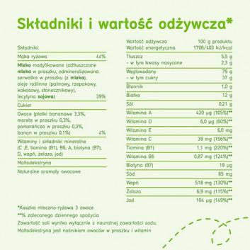 BoboVita Smaczna Kolacja Kaszka mleczno-ryżowa 3 owoce po 6. miesiącu - 230 g - cena, opinie, właściwości - obrazek 5 - Apteka internetowa Melissa