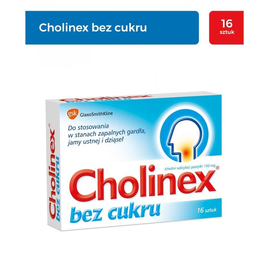CHOLINEX SUGARFREE - 16 past. do ssania na ból gardła - obrazek 1 - Apteka internetowa Melissa