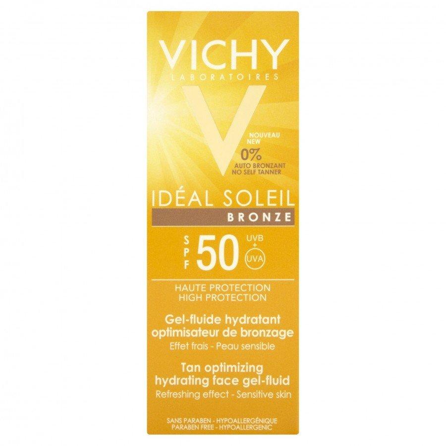 VICHY IDEAL SOLEIL BRONZE Żel-fluid do twarzy optymalizujący opaleniznę SPF50 - 50 ml  - Apteka internetowa Melissa