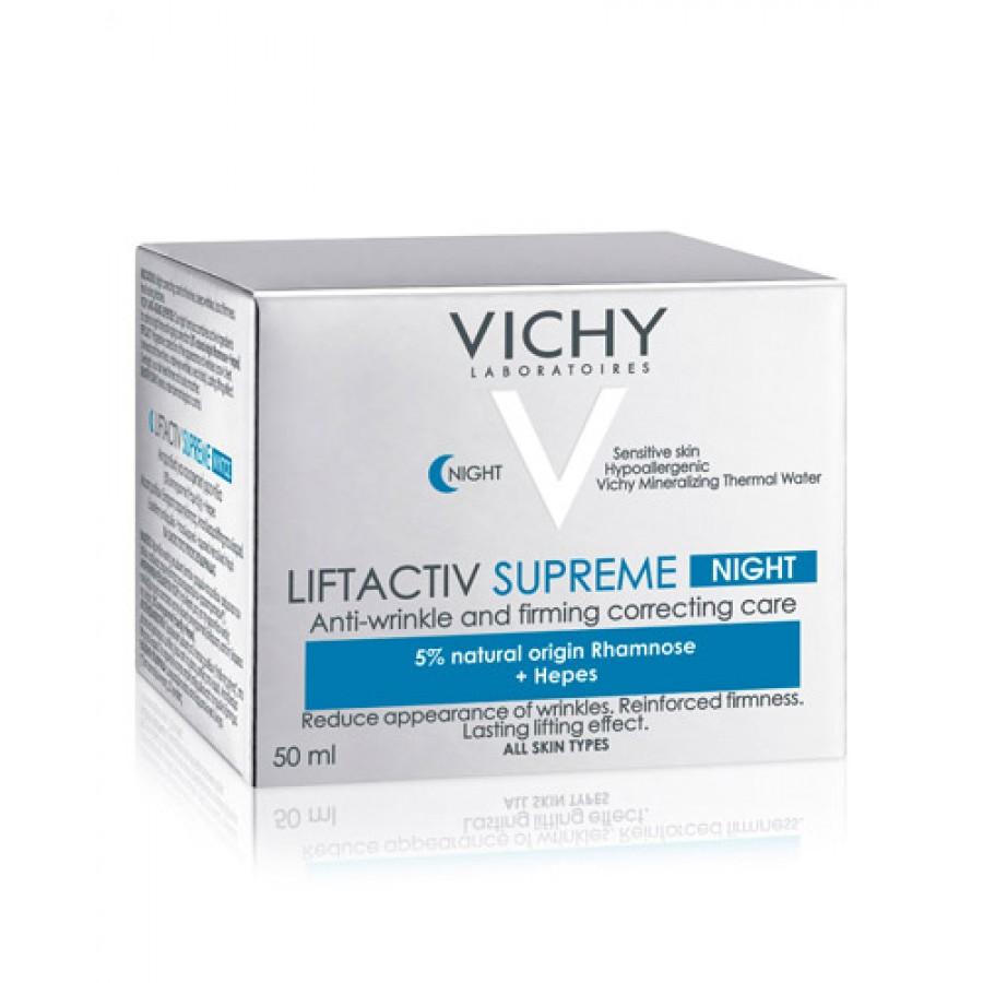 VICHY LIFTACTIV SUPREME NOC Kompleksowa przeciwzmarszczkowa pielęgnacja ujędrniająca na noc - 50 ml - cena, opinie, właściwości + Vichy mineral 89 - 10 ml  - obrazek 3 - Apteka internetowa Melissa