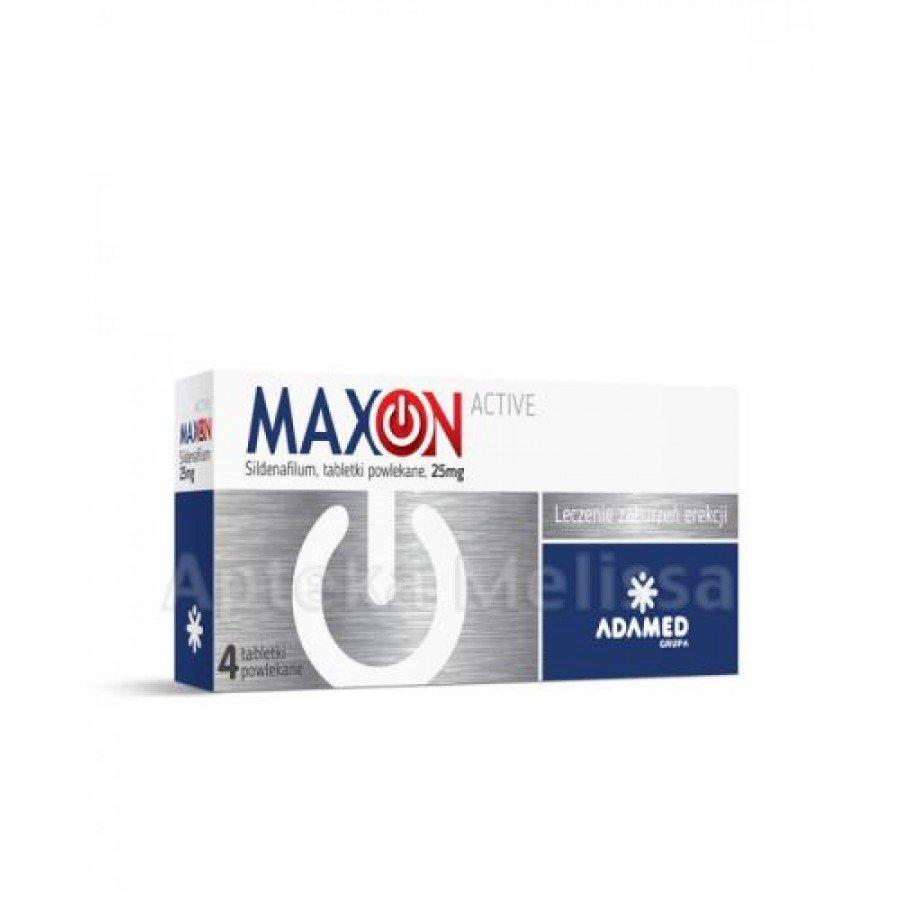 Maxon Active 25 mg - 4 tabletki. Lek na potencję - obrazek 1 - Apteka internetowa Melissa