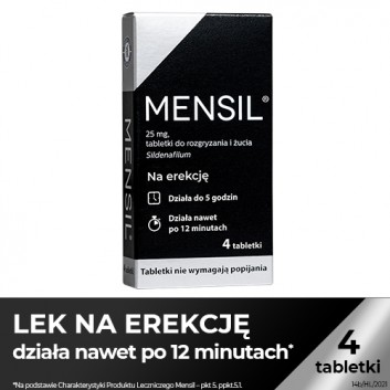 Mensil 25mg - 4 tabl. - lek na zaburzenia wzwodu - cena, opinie, wskazania - obrazek 1 - Apteka internetowa Melissa
