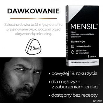 Mensil 25mg - 4 tabl. - lek na zaburzenia wzwodu - cena, opinie, wskazania - obrazek 4 - Apteka internetowa Melissa