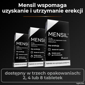 Mensil 25mg - 4 tabl. - lek na zaburzenia wzwodu - cena, opinie, wskazania - obrazek 5 - Apteka internetowa Melissa