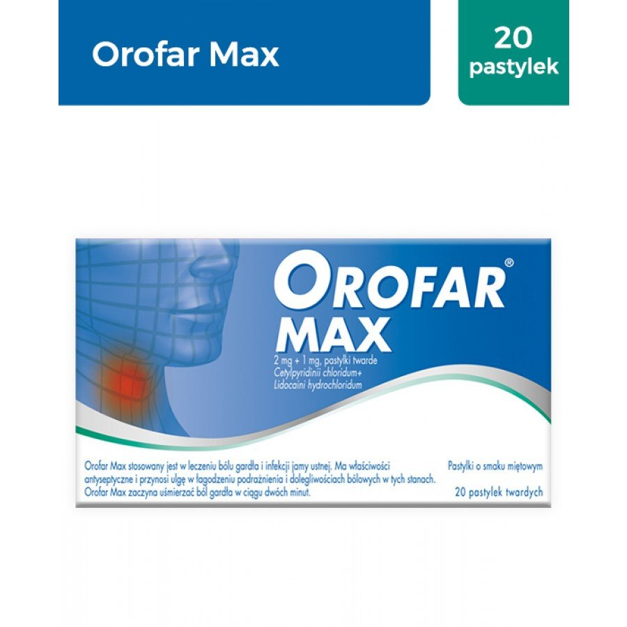 OROFAR MAX - 20 past. na ból gardła - obrazek 1 - Apteka internetowa Melissa