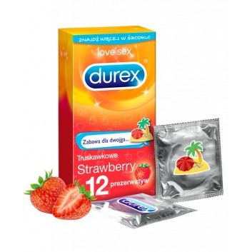 DUREX STRAWBERRY Prezerwatywy - 12 szt. - obrazek 1 - Apteka internetowa Melissa