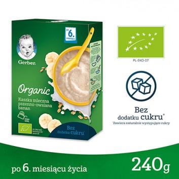 GERBER ORGANIC Kaszka mleczna pszenno-owsiana bananowa, po 6. miesiącu - 240 g - obrazek 1 - Apteka internetowa Melissa