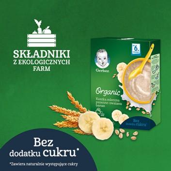GERBER ORGANIC Kaszka mleczna pszenno-owsiana bananowa, po 6. miesiącu - 240 g - obrazek 2 - Apteka internetowa Melissa