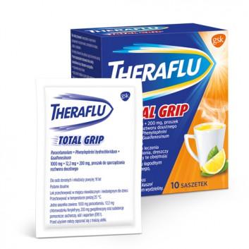 THERAFLU TOTAL GRIP Lek na objawy przeziębienia i grypy - 10 sasz. Data ważności 2021.10.31 - obrazek 2 - Apteka internetowa Melissa