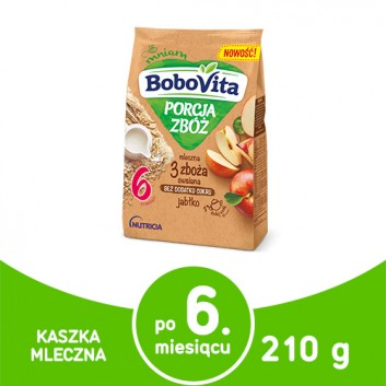 BOBOVITA PORCJA ZBÓŻ Kaszka mleczna owsiana 3 zboża, jabłko, po 6 miesiącu - 210 g - cena, właściwości, opinie  - obrazek 1 - Apteka internetowa Melissa