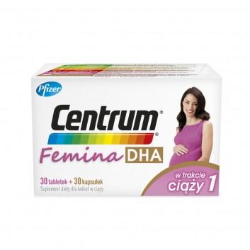 CENTRUM FEMINA DHA W trakcie ciąży 1- 30 tabl. + 30 kaps. - cena, opinie, właściwości - obrazek 1 - Apteka internetowa Melissa