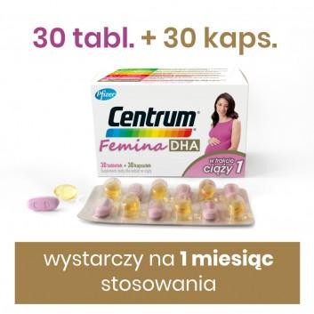 CENTRUM FEMINA DHA W trakcie ciąży 1- 30 tabl. + 30 kaps. - cena, opinie, właściwości - obrazek 2 - Apteka internetowa Melissa