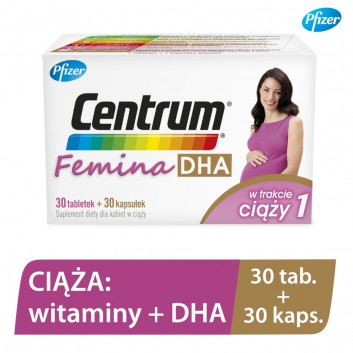 CENTRUM FEMINA DHA W trakcie ciąży 1- 30 tabl. + 30 kaps. - cena, opinie, właściwości - obrazek 3 - Apteka internetowa Melissa
