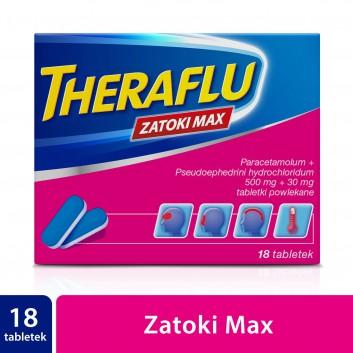THERAFLU ZATOKI MAX - 18 tabl. - zwalcza objawy grypy i przeziębienia Data ważności 2021.06.30 - obrazek 1 - Apteka internetowa Melissa
