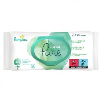 Pampers chusteczki nawilżane Aqua Pure 48 sztuk chusteczek - cena, opinie, wskazania - obrazek 1 - Apteka internetowa Melissa