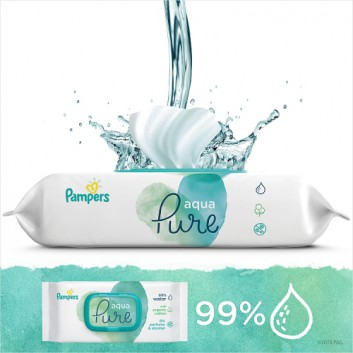 Pampers chusteczki nawilżane Aqua Pure 48 sztuk chusteczek - cena, opinie, wskazania - obrazek 4 - Apteka internetowa Melissa