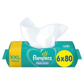 PAMPERS Fresh Clean Chusteczki nawilżane dla niemowląt - 6 op., 480 szt. - cena, opinie, właściwości - obrazek 1 - Apteka internetowa Melissa