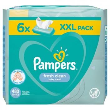 PAMPERS Fresh Clean Chusteczki nawilżane dla niemowląt - 6 op., 480 szt. - cena, opinie, właściwości - obrazek 2 - Apteka internetowa Melissa