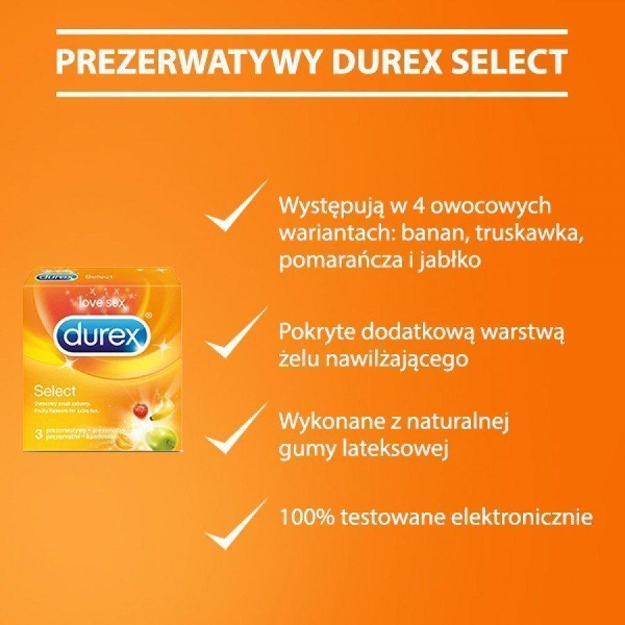 DUREX SELECT Prezerwatywy kolorowe , pachnące owocowo - 3 szt. - obrazek 3 - Apteka internetowa Melissa