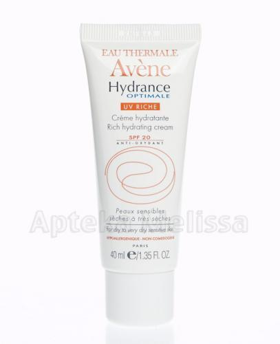 AVENE Hydrance Optimale UV Riche Krem nawilżający z  filtrem SPF20 - 40 ml - Apteka internetowa Melissa