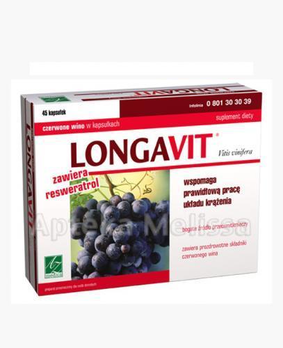 LONGAVIT Czerwone wino w kapsułkach - 45 kaps. - Apteka internetowa Melissa