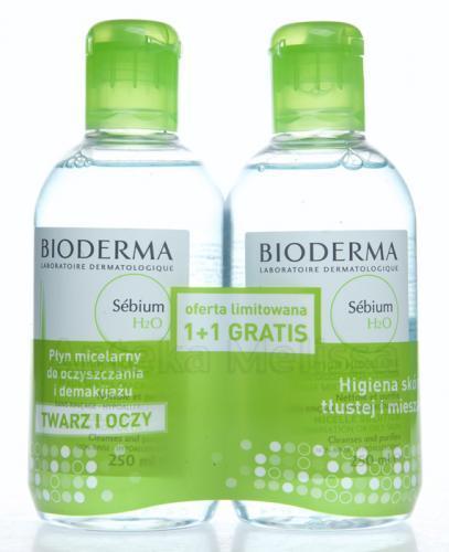 BIODERMA SEBIUM H2O Antybakteryjny płyn micelarny do oczyszczania twarzy - 2 x 250 ml  Data ważności: 2018.06.30 - Apteka internetowa Melissa
