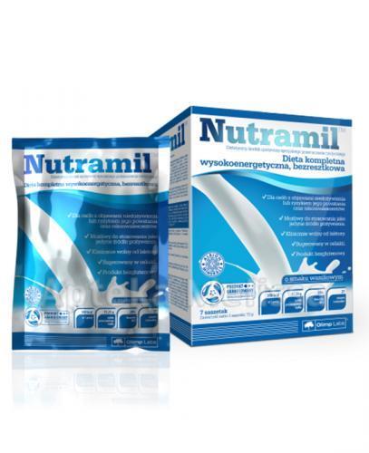 OLIMP NUTRAMIL Dieta kompletna wysokoenergetyczna, bezresztkowa smak waniliowy - 7 sasz.