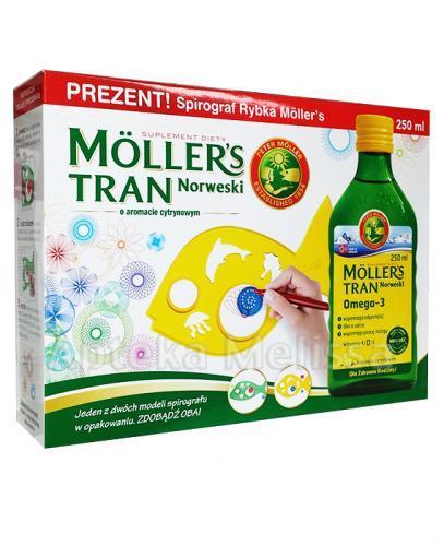 MOLLERS Tran norweski o aromacie cytrynowym - 250 ml + Kolorowanka akwarium 3D GRATIS! - Apteka internetowa Melissa