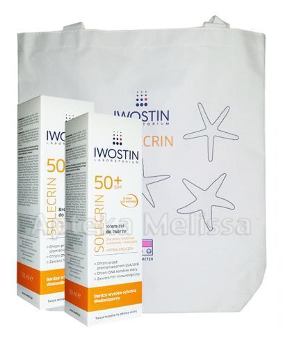 IWOSTIN SOLECRIN Krem żel do twarzy SPF50+ - 2 x 50 ml + Torba GRATIS! - Apteka internetowa Melissa