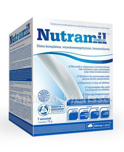 OLIMP NUTRAMIL Dieta kompletna wysokoenergetyczna, bezresztkowa smak neutralny - 7 sasz.