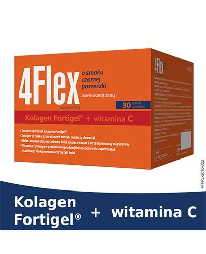 4FLEX Kolagen o smaku czarnej porzeczki - 30 sasz. x 10 g. Właściwe funkcjonowanie chrząstki i kości. - Drogeria Melissa