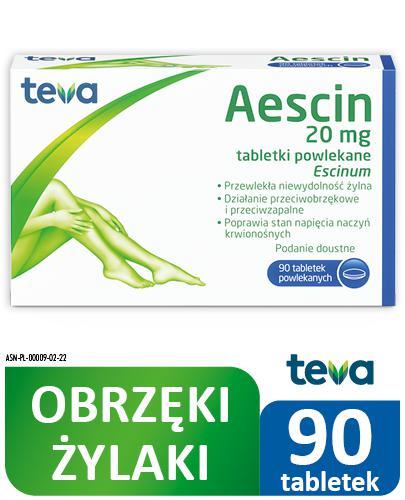 AESCIN - 90 tabl. Lek na niewydolność żylną - cena, opinie, ulotka - Apteka internetowa Melissa
