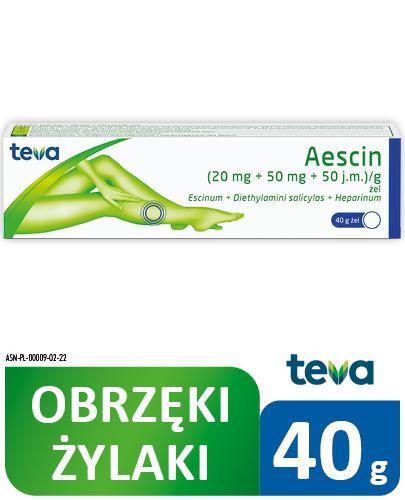 AESCIN Żel - 40 g Lek na stłuczenia i obrzęki - cena, opinie, ulotka - Apteka internetowa Melissa
