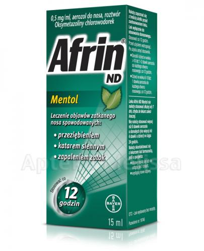 AFRIN ND Mentol areozol do nosa 0,5 mg/ml - 15 ml  - Apteka internetowa Melissa