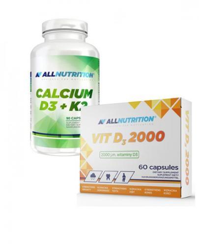 ALLNUTRITION Calcium D3 + K2 - 90 kaps. + ALLNUTRITION VIT D3 2000 - 60 kaps. - Apteka internetowa Melissa