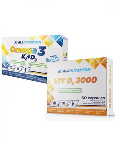 ALLNUTRITION Omega-3 + K2 + D3 - 30 kaps. + ALLNUTRITION VIT D3 2000 - 60 kaps. - Apteka internetowa Melissa