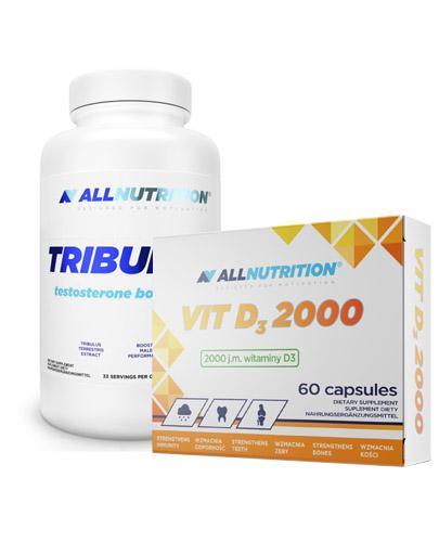 ALLNUTRITION Tribulus testosterone booster - 100 kaps. + ALLNUTRITION VIT D3 2000 - 60 kaps. - Apteka internetowa Melissa