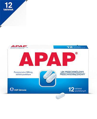 APAP - Paracetamol 500 mg - 12 tabl. Lek przeciwbólowy - cena, opinie, właściwości  - Apteka internetowa Melissa
