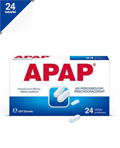 APAP - Paracetamol 500 mg - 24 tabl. Lek na gorączkę - cena, opinie, ulotka - Apteka internetowa Melissa