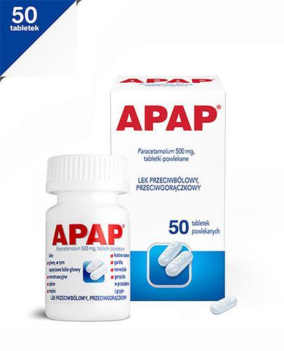 APAP - Paracetamol 500 mg - 50 tabl. Lek przeciwbólowy - cena, opinie, wskazania
