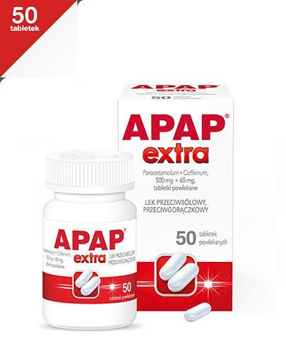 APAP EXTRA - Paracetamol 500 mg + kofeina 65 mg - 50 tabl.