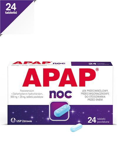 APAP NOC - 24 tabl. Lek przeciwbólowy - cena, opinie, wskazania - Apteka internetowa Melissa