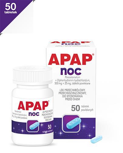 APAP NOC - 50 tabl. Lek przeciwbólowy - cena, opinie, właściwości  - Apteka internetowa Melissa
