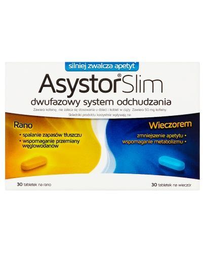 ASYSTOR SLIM Dwufazowy preparat skutecznie pomagający schudnąć dzień i noc - 60 tabl.  (nowa formuła - Drogeria Melissa