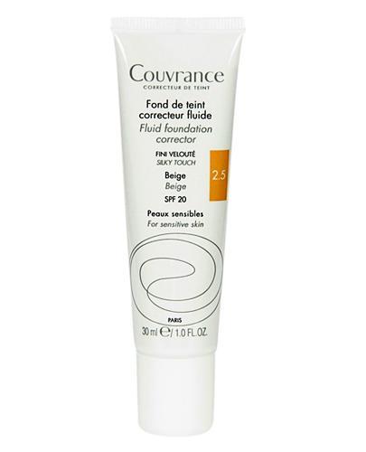 AVENE COUVRANCE Fluid korygujący SPF20 beżowy (2.5) - 30 ml - jedwabiste wykończenia do skóry wrażliwej - cena, opinie, właściwości