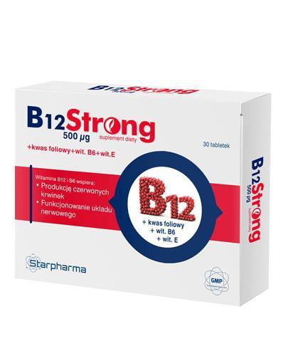 B12 STRONG 500 ug - 30 tabl. - zestaw trzech witamin z grupy B: B6, B12 i kwasu foliowego - cena, dawkowanie - Apteka internetowa Melissa