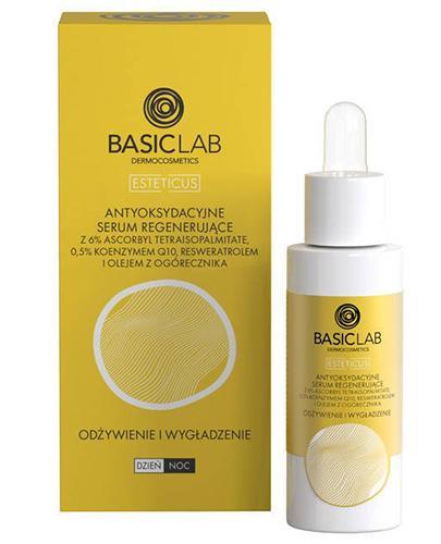 BasicLab Antyoksydacyjne Serum regenerujące z 6% ascorbbyl tetraisopalmitate, 0,5% koenzymem Q10, resweratrolem i olejem z ogórecznika - 30 ml - cena, opinie, właściwości - Drogeria Melissa