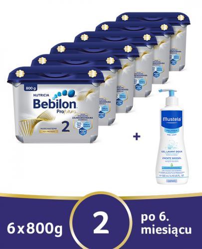 BEBILON 2 PROFUTURA Mleko modyfikowane w proszku - 6 x 800g + MUSTELA BEBE ENFANT Żel do mycia głowy i ciała dla niemowląt i dzieci - 500 ml